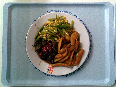 Schmorsteak aus der Kängurukeule mit Cranberries, Kartoffel-Wedges und Bohnen-Mais-Gemüse für 3,20€