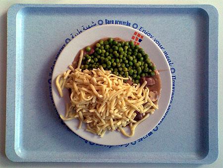 Putengulasch »Jäger Art« mit Spätzle und Erbsen für zusammen 1,90€