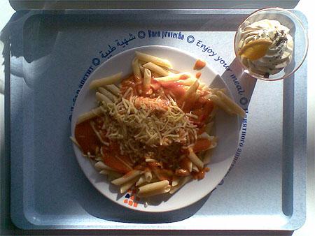 Penne mit Geflügel-Paprika-Soße, als Nachtisch eine Blutorangenformage: zusammen für 2,50€