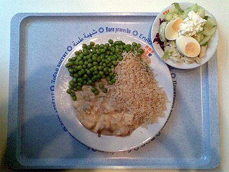 Frikassee vom Huhn mit Buttererbsen und Reis, dazu ein kleiner Salat für zusammen 2,60€